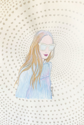 """silver-gold-glasses image"" illustrated by kahoko"