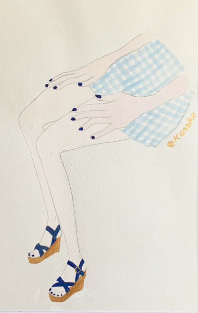 """Gingham-Indigo-Manicure image"" illustrated by kahoko"