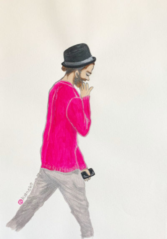 chignon-silver-pink-hat illustrated by Kanoko